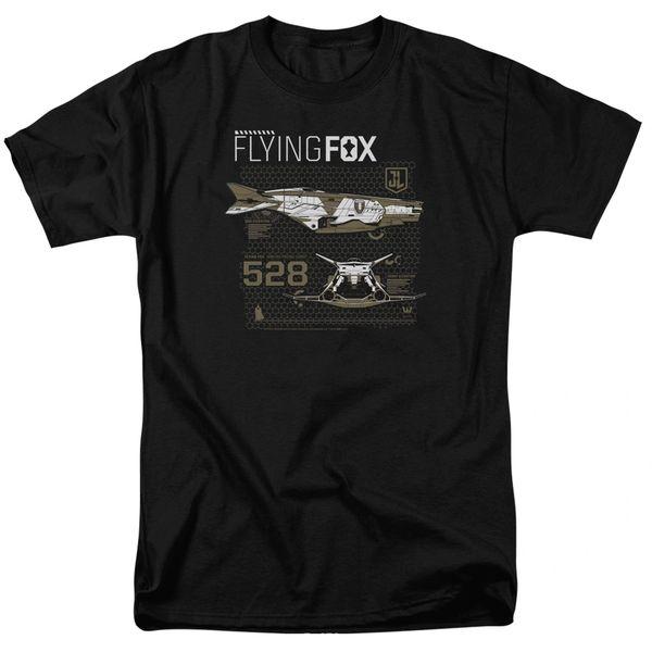 Justice League Flying Fox Black Short Sleeve Adult T-shirt