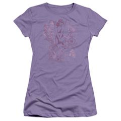 Bettie Page Flower Lavender Short Sleeve Junior T-shirt
