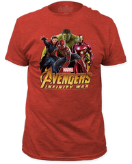 The Avengers Infinity Wars Hulk Group Heather Red Short Sleeve Adult T-shirt