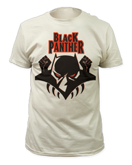 Black Panther Logo White Short Sleeve Adult T-shirt