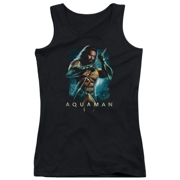 Aquaman Trident Black Junior Tank Top T-shirt