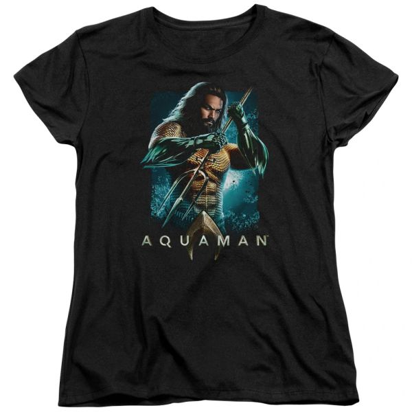 Aquaman Trident Black Short Sleeve Women's T-shirt