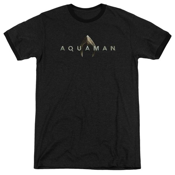 Aquaman Logo Black Short Sleeve Adult Ringer T-shirt