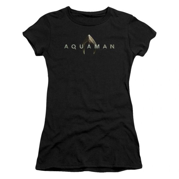 Aquaman Logo Black Short Sleeve Junior T-shirt