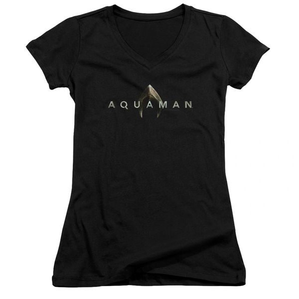 Aquaman Logo Black Junior V-Neck T-shirt