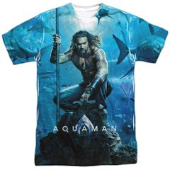 Aquaman Poster White Short Sleeve Front and Back Print Adult T-shirt