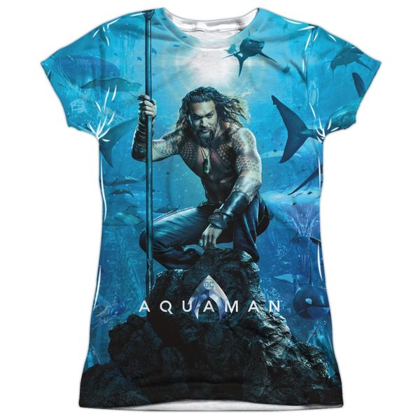 Aquaman Poster White Short Sleeve Junior T-shirt