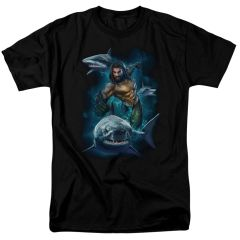 Aquaman Swimming with Sharks Black Short Sleeve Adult T-shirt