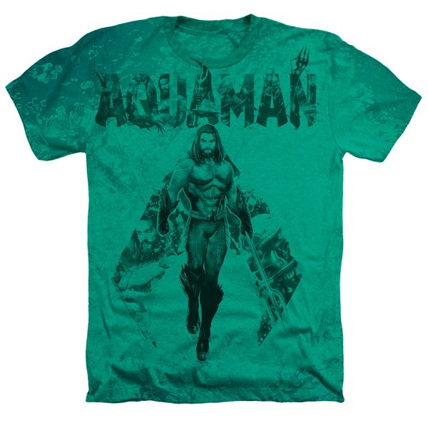 Aquaman Aqua Group Kelly Green Short Sleeve Adult T-shirt