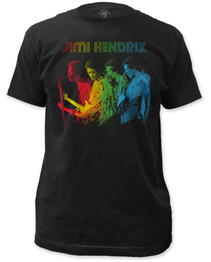 Jimi Hendrix Rainbow Black Short Sleeve Adult T-shirt