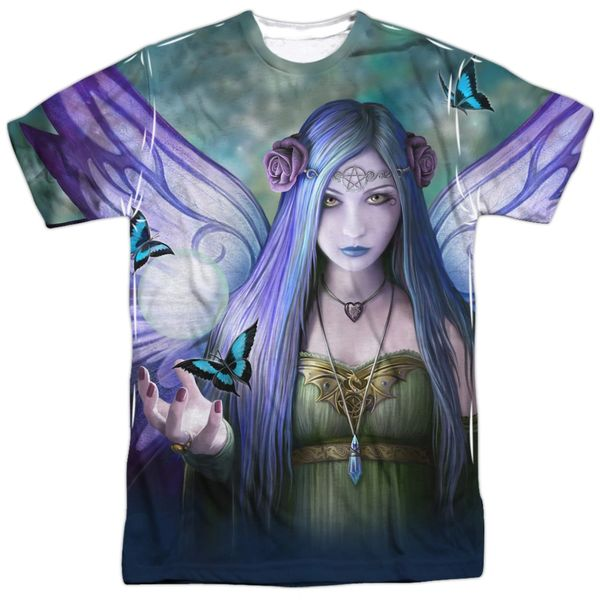 Annie Stokes Mystic Aura White Front and Back Print Short Sleeve Adult T-shirt
