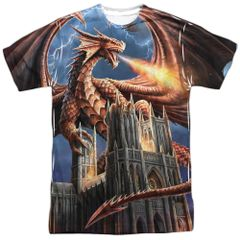 Annie Stokes Dragons Fury White Front and Back Print Short Sleeve Adult T-shirt