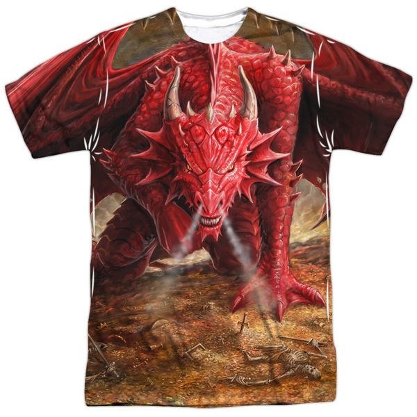 Annie Stokes Dragons Lair White Front and Back Print Short Sleeve Adult T-shirt