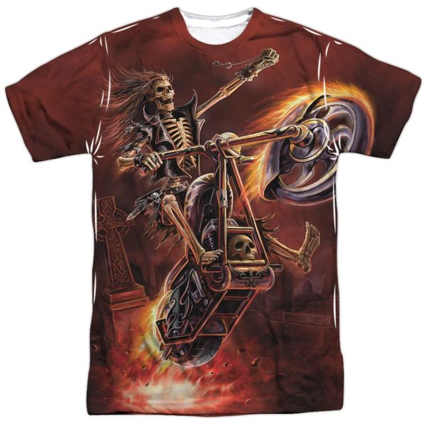 Annie Stokes Hell Rider White Front and Back Print Short Sleeve Adult T-shirt