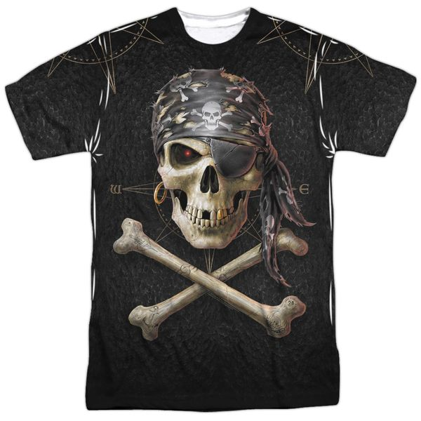Annie Stokes Pirate Skull White Front and Back Print Short Sleeve Adult T-shirt