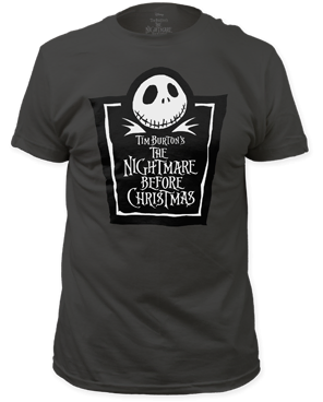 The Nightmare Before Christmas Tombstone Logo Black Short Sleeve Adult T-shirt