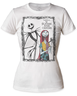 The Nightmare Before Christmas Jack and Sally White Short Sleeve Womens T-shirt