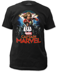 Captain Marvel Group Shot Black Short Sleeve Adult T-shirt