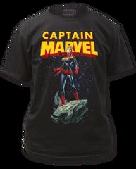 Captain Marvel Astroid Black Short Sleeve Adult T-shirt