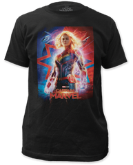 Captain Marvel Poster Black Short Sleeve Adult T-shirt