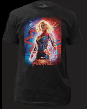 Captain Marvel Poster Black Short Sleeve Adult T-shirt