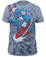 Captain America Captain Fighting Heather Blue Short Sleeve Adult T-shirt