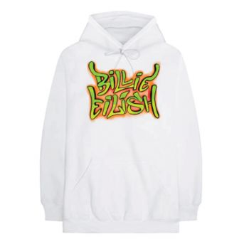 Billie Eilish Graffiti White Adult Pullover Hoodie
