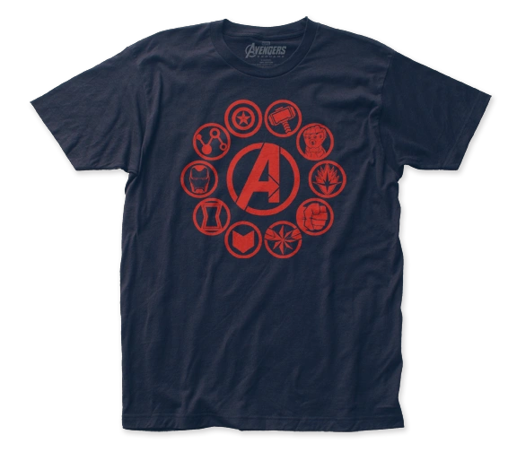 The Avengers End Game Icons Black Short Sleeve Adult T-shirt