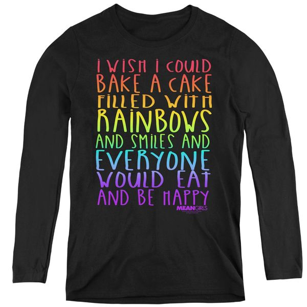 Mean Girls Rainbows and Cake Black Long Sleeve Women's T-shirt
