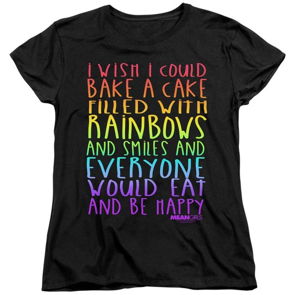 Mean Girls Rainbows and Cake Black Short Sleeve Women's T-shirt