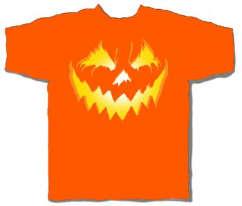 Halloween Glowing Pumpkin Orange Short Sleeve Adult T-shirt
