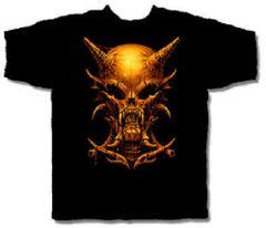 Halloween Horned Skull Black Short Sleeve Adult T-shirt