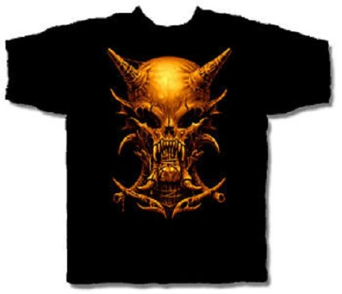 Halloween Horned Skull Black Short Sleeve Adult T-shirt