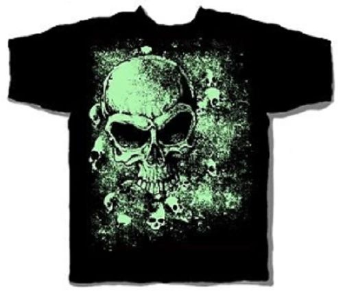 Halloween Glowing Skulls Black Short Sleeve Adult T-shirt