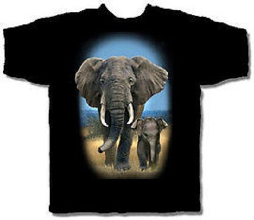 Nature Baby Elephant Black Short Sleeve Adult T-shirt
