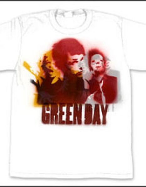 Green Day Stencil White Short Sleeve Adult T-shirt