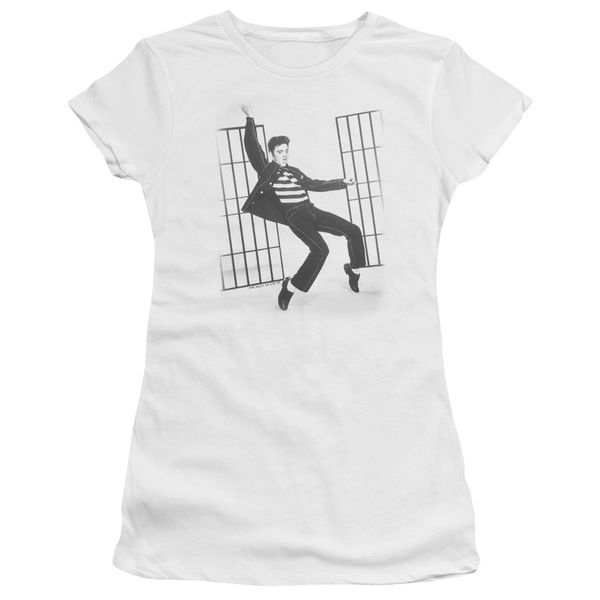 Elvis Presely Jail House Rock White Short Sleeve Junior T-shirt