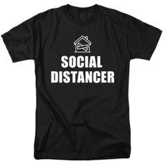 Social Distancer Black Short Sleeve T-shirts