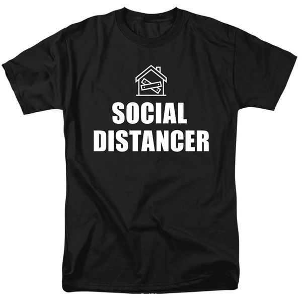 Social Distancer Black Short Sleeve T-shirts