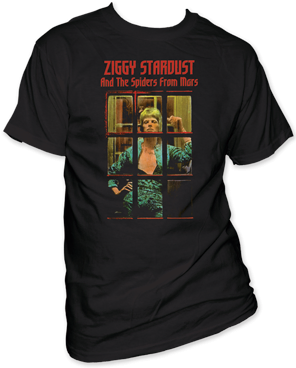 David Bowie Ziggy Phone Booth Black Cotton Short Sleeve Adult T-shirt