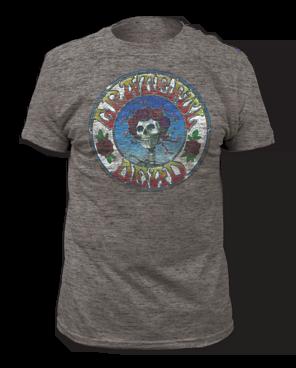 Grateful Dead Skull and Roses Grey Short Sleeve Adult T-shirt