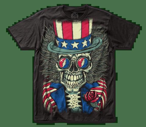 Grateful Dead Patriotic Skelly Black Big Print Short Sleeve Adult T-shirt