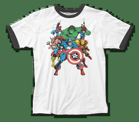 The Avengers The Avengers White Black Short Sleeve Adult Ringer T-shirt