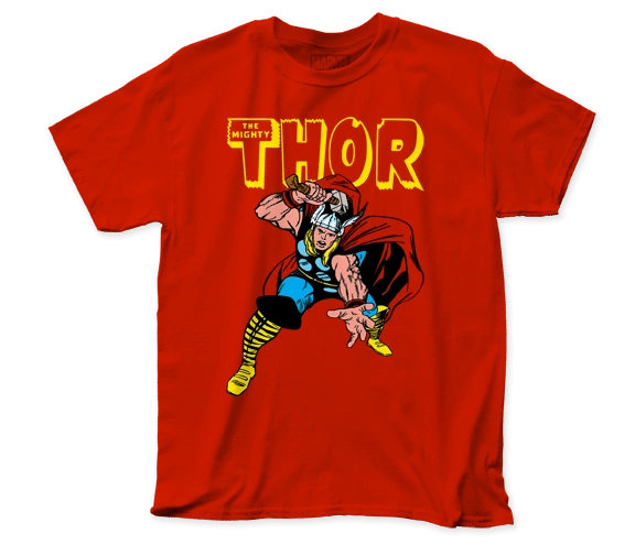Thor War Hammer Red Short Sleeve Adult T-shirt