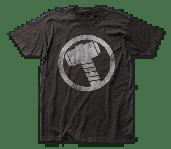 Thor Distressed Icon Black Short Sleeve Adult T-shirt