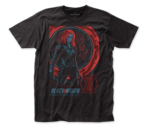 Black Widow Global Poster Black Short Sleeve Adult T-shirt