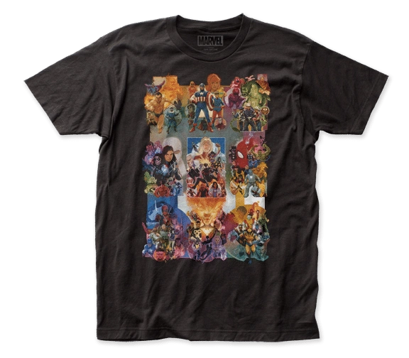 Marvel Painted Collage Black Short Sleeve Adult T-shirt