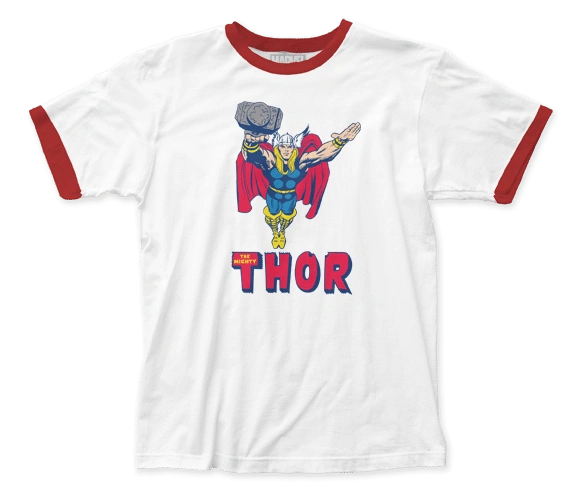 Thor Flying White Red Short Sleeve Adult Ringer T-shirt