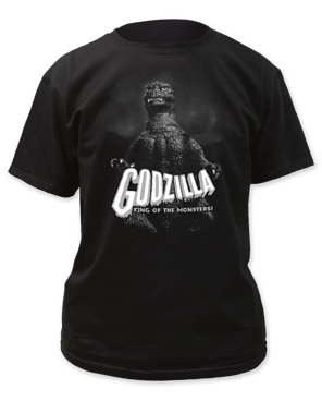 Godzilla Black and White King of the Monsters Black Short Sleeve Adult T-shirt