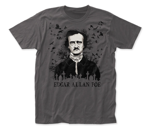 Edgar Allen Poe Raven Charcoal Short Sleeve Adult T-shirt